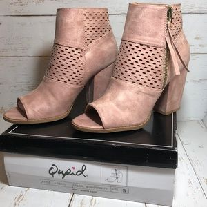 Qupid Lost 10 Blush Distressed Open Toe Bootie